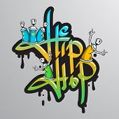 pic of spray can  - Graffiti spray can crazy characters hip hop musical culture drippy font text composition abstract grunge vector illustration - JPG