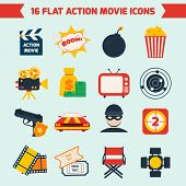 pic of tv sets  - Action film movie production flat icons set of tv boom light camera isolated vector illustration - JPG