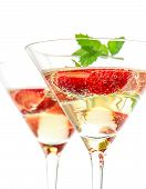 picture of sparkling wine  - strawberry cocktail with berry in martini glass isolated on white background - JPG