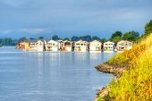 stock photo of houseboats  - A group of houseboats on the Columbia River in Portland Oregon - JPG