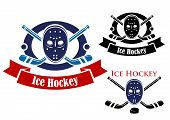 pic of ice hockey goal  - Ice hockey symbols set with puck - JPG