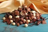 pic of kindness  - Different kinds of chocolates on wooden table close - JPG