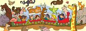 stock photo of armadillo  - Kids travel through the wilderness safari by train with black line drawing create by vector - JPG