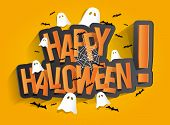 foto of bat  - Happy Halloween Card Design Elements On Background - JPG