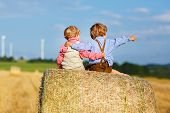 image of hay bale  - Two little twin boys sitting on hay stack or bale and speaking on yellow wheat field in summer - JPG