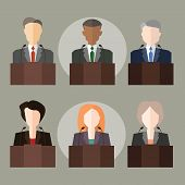 picture of politician  - vector illustration with the image of politicians and officials - JPG