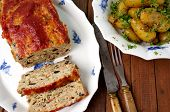 picture of meatloaf  - Turkey meatloaf with roasted potatoes - JPG
