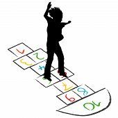 picture of hopscotch  - Illustration of a child silhouette jumping over hopscotch - JPG