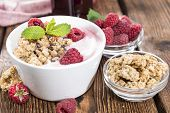 picture of yogurt  - Bowl with fresh made Raspberry Yogurt and some fruits - JPG