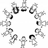 image of multicultural  - Black and White Cartoon Illustration of Happy Multicultural Children around the Globe for Coloring Book - JPG