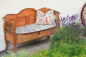 foto of settee  - old hand crafted wooden settee vintage style bavarian furniture - JPG