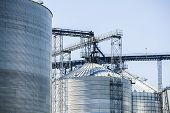 picture of silo  - Upper part of huge silver shiny agricultural silos - JPG