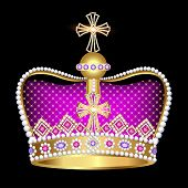 foto of crown jewels  - illustration imperial crown with jewels on a black background - JPG