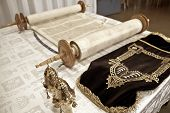 stock photo of traditional  - the Torah the Jewish Bible laying on the table  the combination of traditional Jewish law