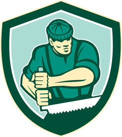 picture of arborist  - Illustration of lumberjack arborist tree surgeon sawing using crosscut saw set inside shield crest shape on isolated white background done in retro style - JPG
