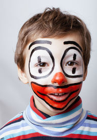 pic of pantomime  - little cute boy with facepaint like clown - JPG