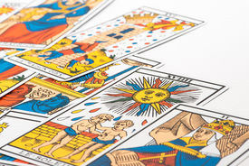 foto of paranormal  - Zoom in Clairvoyance tarot cards on white background - JPG