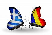 image of chad  - Two butterflies with flags on wings as symbol of relations Greece and Chad Romania - JPG