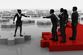 picture of recruiting  - A successful team recruiting like pieces of a jigsaw puzzle - JPG