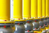 picture of pipeline  - Number of yellow pipes of the gas pipeline close up - JPG