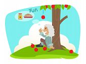 picture of revelation  - Funny cartoon of Isaac Newton sits under an apple tree - JPG