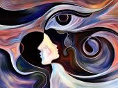 stock photo of intuition  - Design on the subject of intuition between parent and child made of profiles of woman and child human eye and abstract elements - JPG