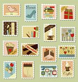 Large set of postage stamps
