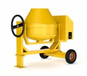 foto of mixer  - front view of a cement mixer on white background  - JPG