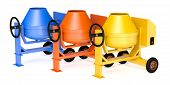 picture of mixer  - three cement mixers on different colors  - JPG