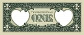 "stock photo of two dollar bill  - ""Two Hearts Become One"" Photo-Illustration of a dollar bill retouched to include two hearts. - JPG"