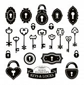 stock photo of keyhole  - Set of different vintage keys keyholes and locks vector illustration - JPG