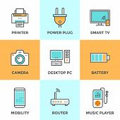 image of tv sets  - Line icons set with flat design elements of consumer electronics and computer technology devices power plug and energy battery - JPG