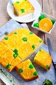 image of clementine-orange  - Cherry dots orange upside down cake on board - JPG