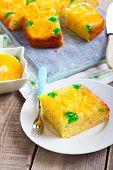 picture of clementine-orange  - Cherry dots orange upside down cake on plate  - JPG