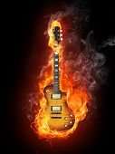 stock photo of guitar  - Electric Guitar in fire Isolated on Black Background - JPG