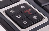 foto of sos  - Buttons on a keyboard selective focus on the middle right button  - JPG
