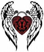 stock photo of spread wings  - Love tattoo - JPG