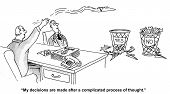 picture of recommendation  - Cartoon of businessman throwing recommendations randomly to a yes and a no basket - JPG