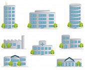 stock photo of building exterior  - This graphic is Building icons set - JPG