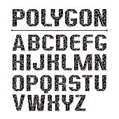 stock photo of grotesque  - Low polygon sans serif font - JPG