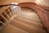 image of spiral staircase  - spiral staircase steps closeup vertical up down view - JPG