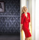pic of girl next door  - Mysterious blonde waiting next to white door - JPG