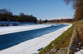 picture of zakarpattia  - Quay of Uzh river in Uzhgorod during winter time  - JPG