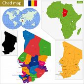 pic of chad  - Chad map with high detail and accuracy and it is divided into provinces which are colored with different bright colors - JPG