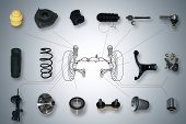 image of steers  - Many new Suspension and steering parts for a car - JPG