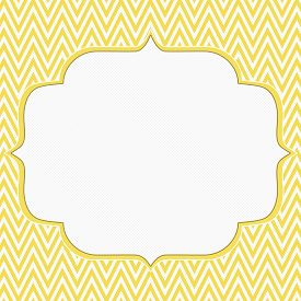 stock photo of chevron  - Yellow and White Chevron Zigzag Frame Background with center for copy - JPG