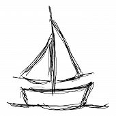 picture of sails  - Hand drawn illustration of a boat with sails - JPG