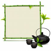picture of teapot  - Bamboo frame with teapot and cups - JPG