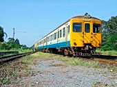 pic of railcar  - Local diesel railcar in the northeastern line is going to Ubonratchatani station - JPG
