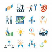 picture of mentoring  - Mentoring and personal skills development icons flat set isolated vector illustration - JPG